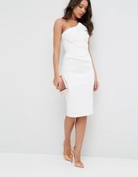 Платье-футляр бандо из органзы ASOS Premium - Белый
