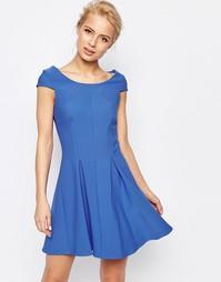 Короткое приталенное платье со складками Closet - Синий