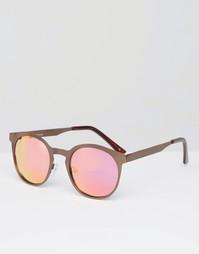Коричневые круглые солнцезащитные очки в металлической оправе ASOS