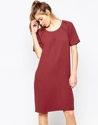 Платье-футляр миди с короткими рукавами Ichi - Темно-бордовый