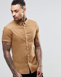 Облегающая рубашка с короткими рукавами ASOS - Кэмел