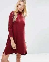 Трикотажное платье‑туника из кашемировой смеси ASOS - Темно-красный