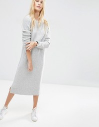 Шерстяное платье-джемпер миди ASOS - Светло-серый меланж