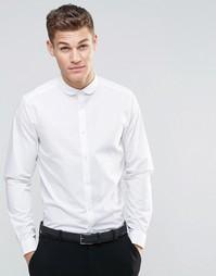 Белая рубашка с закругленным воротником и длинными рукавами ASOS