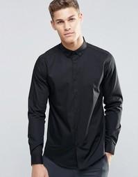 Черная рубашка классического кроя с воротником на пуговицах ASOS