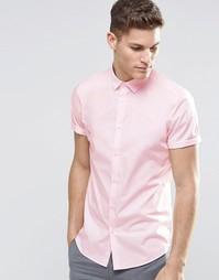 Строгая рубашка розового цвета с короткими рукавами ASOS - Розовый