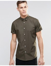 Рубашка цвета хаки в строгом стиле с короткими рукавами ASOS - Хаки