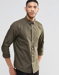 Строгая рубашка цвета хаки с длинными рукавами ASOS - Хаки