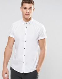 Белая рубашка в строгом стиле с воротником на пуговицах и короткими ру Asos