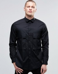 Черная oversize-рубашка с карманами и длинными рукавами ASOS - Черный