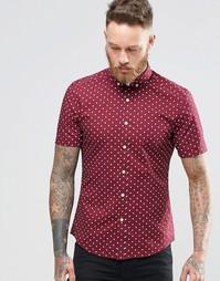 Бордовая рубашка скинни в горошек с короткими рукавами ASOS - Burgundy