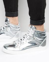 Высокие серебристые кроссовки со вставками ASOS - Серебряный