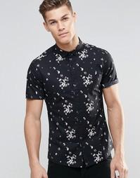 Облегающая черная рубашка с цветочным принтом и короткими рукавами ASO Asos