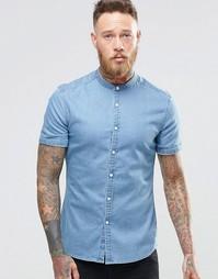 Джинсовая рубашка суперзауженного кроя с воротником на пуговицах и кор Asos