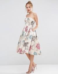 Жаккардовое платье миди для выпускного с лифом бандо ASOS SALON - Mink