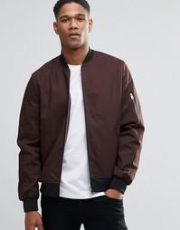 Темно-коричневая куртка-пилот с молнией на рукавах ASOS - Dark brown