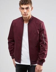 Бордовая куртка‑пилот с молнией на рукавах ASOS - Burgundy