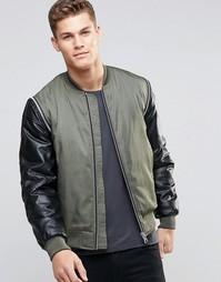Куртка-пилот цвета хаки с рукавами из искусственной кожи ASOS - Хаки
