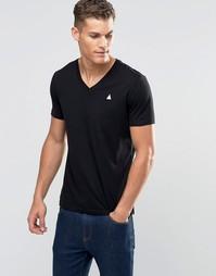 Черная футболка с логотипом и V-образным вырезом ASOS - Черный