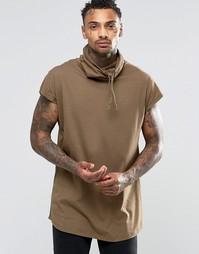Oversize-футболка без рукавов с воротником-трубой и асимметричным крае Asos