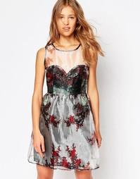 Платье из органзы с вырезом сердечком Iska Winter Forest - Серебряный