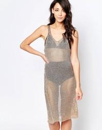Вязаное облегающее платье Glamorous - Розовое золото