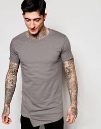 Серая футболка с асимметричным передом Lindbergh - Темно-серый
