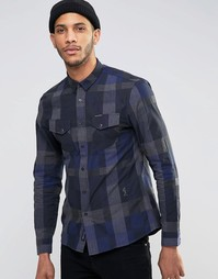 Клетчатая рубашка с длинными рукавами Religion - Темно-синий