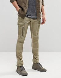 Суперзауженные брюки-карго с молниями ASOS - Chinchilla
