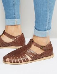 Коричневые кожаные сандалии Dune - Коричневый