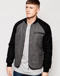 Куртка-пилот с контрастными рукавами Native Youth - Серый