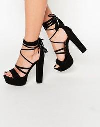 Босоножки на блочном каблуке Boohoo - Черный