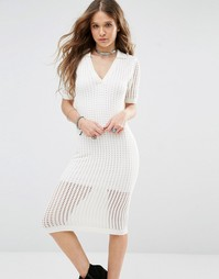 Сетчатое облегающее платье миди Honey Punch - Кремовый