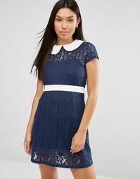 Платье с кружевной вставкой Club L - Темно-синий