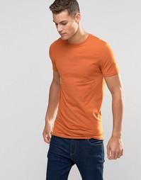 Оранжевая удлиненная облегающая футболка ASOS - Винтажный оранжевый