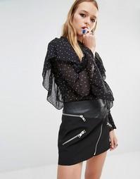 Блузка в мелкий горошек с оборками Navy London - Черный