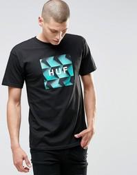 Футболка с принтом и логотипом HUF - Черный