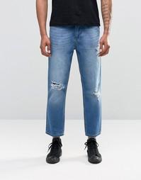 Синие рваные джинсы Religion Rehab - Выбеленный синий