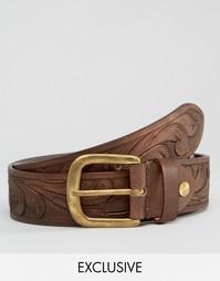 Кожаный ремень с тиснением Reclaimed Vintage - Коричневый