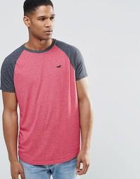 Розовая футболка слим с контрастными рукавами реглан Hollister