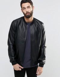 Куртка-пилот из искусственной кожи Only & Sons - Черный