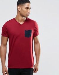 Бордовая футболка слим с контрастным карманом Hollister - Burgundy