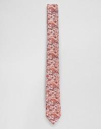 Узкий бордовый галстук с цветочным принтом ASOS - Burgundy