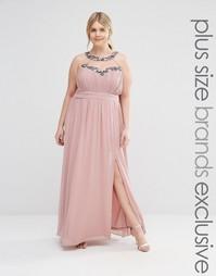 Декорированное платье макси с халтером Little Mistress Plus - Розовый