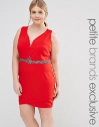 Облегающее платье с отделкой пояса и глубоким вырезом Little Mistress