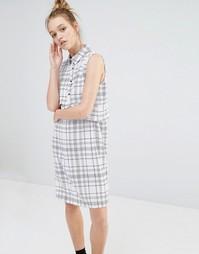 Платье-рубашка с принтом Monki - Решетчатая клетка