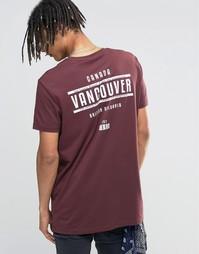 Длинная футболка с принтом Vancouver на спине ASOS - Chestnut