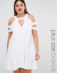 Свободное платье с вырезами на плечах Pink Clove - Белый