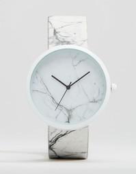 Часы с мраморным дизайном ASOS - Белый