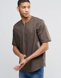 Коричневая футболка на молнии спереди ASOS - Угольный